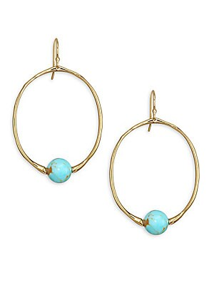 Ippolita 18k Gold Nova Small Round Turquoise Drop Earrings