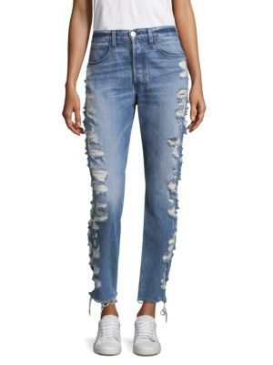W3 Higher-Ground Straight-Leg Cropped Jeans W/ Distressed Sides in Blue