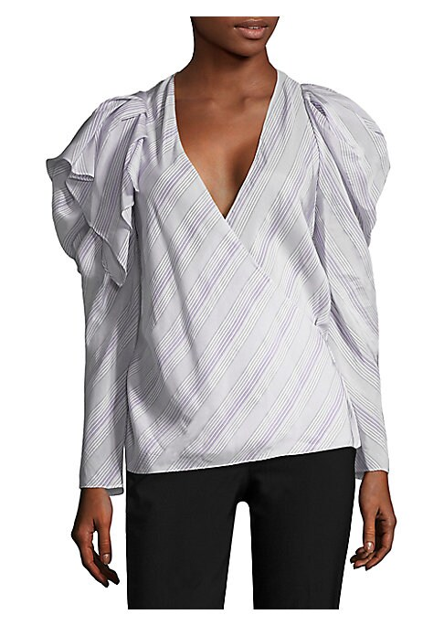 Image of This chic, v-neck, long sleeve top is updated from a classic blouse with some statement ruffle, puffed shoulders. Complimenting and colorfulstripes add a less-formal, relaxed vibe to this blouse.V-neck. Long sleeves. Pull-on style. Cupro. Dry clean. Impor