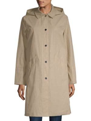 JANE POST Hooded Waxed Jacket in Tan