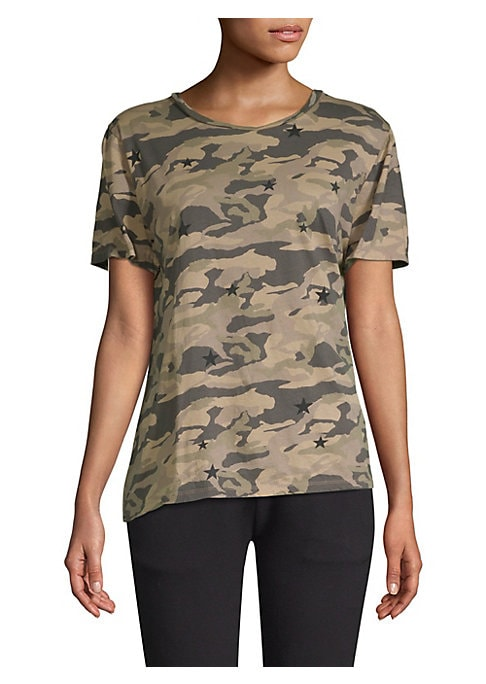 "Image of A camo print adds a versatile aesthetic to this oversize tee. Roundneck. Short sleeves. Pullover style. About 26"" from shoulder to hem. Cotton. Machine wash. Made in USA of imported fabric. Model shown is 5'10"" (177cm) wearing US size Small."