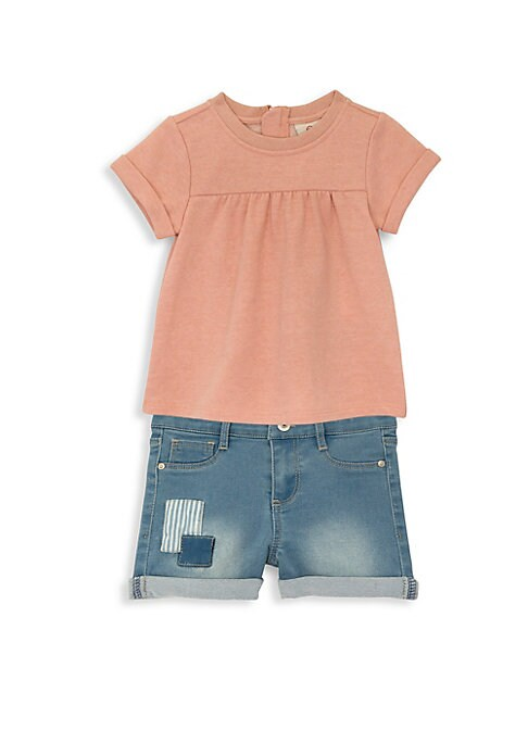 Image of Boho-esque details add style to cool summer set. Machine wash. Imported. TOP. Scoop neck. Short sleeves. Back zip. Gathered empire waist.A-line silhouette. Cotton/polyester. SHORTS. Belt loops. Five-pocket style. Zip fly with button closure. Cuffed hem. C