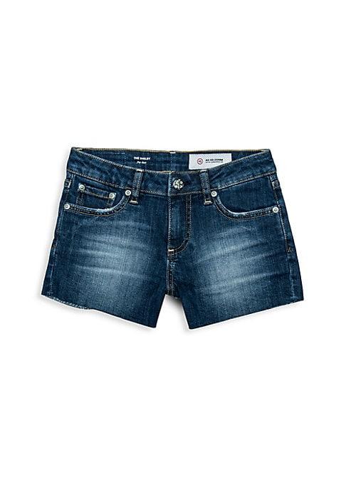 Image of Classic denim cutoffs in a soft, worn dark wash. Belt loops. Five-pocket style. Zip fly with button closure. Unfinished hem. Slim fit. Cotton/viscose/spandex. Machine wash. Imported.