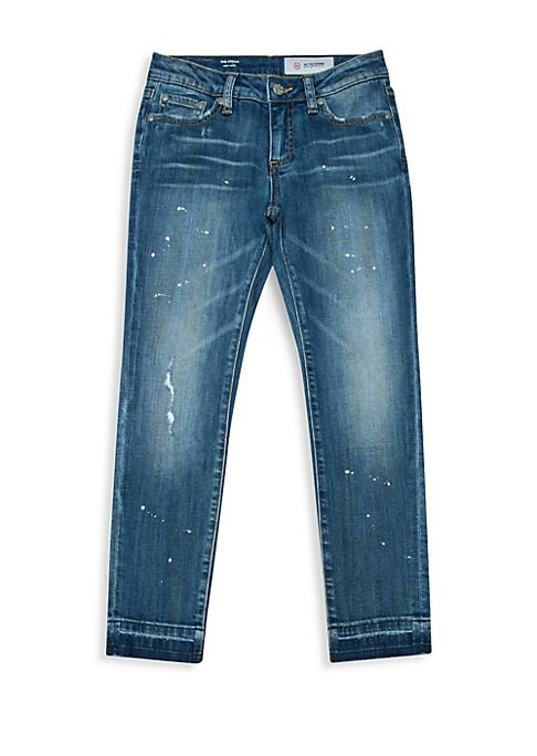 Image of Bleaching and heavy fading lend a lived-in feel to slim jeans. Belt loops. Five-pocket style. Zip fly with button closure. Unfinished hem. Slim fit. Cotton/viscose/spandex. Machine wash. Imported.