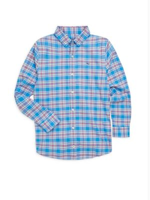 Toddlers Little Boys  Boys Sandy Point Plaid Flannel Whale Shirt