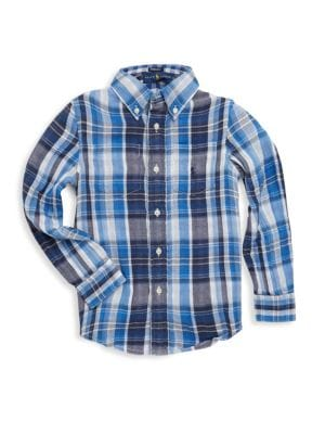 Toddlers Little Boys  Boys Plaid Shirt