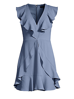 BCBGMAXAZRIA Womens Tyrah Sleeveless Ruffle Dress