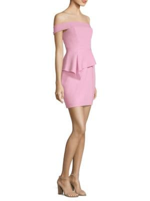 Off The Shoulder Peplum Sheath Dress by Bcbgmaxazria