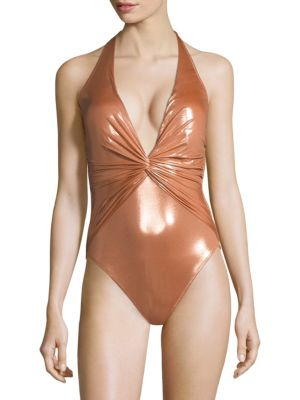GOTTEX SWIM Tourmaline One-Piece V-Neck Swimsuit in Gold