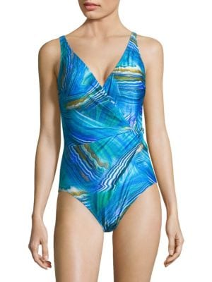GOTTEX SWIM Tourmaline One-Piece Surplice Swimsuit in Multi Blue