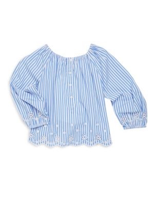 Toddlers Little Girls  Girls Eyelet Embroidered Bengal Stripe Top