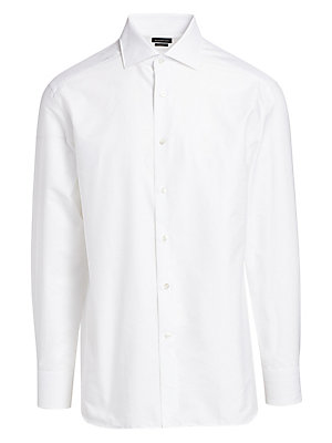 "Image of Textured cotton shirt in a tailored slim fit Spread collar Long sleeves Buttoned barrel cuffs About 30"" from shoulder to hem Cotton Dry clean Imported. Men Luxury Coll - Zegna Dress Shirts. Ermenegildo Zegna. Color: White Stripe. Size: 38 (15) R."