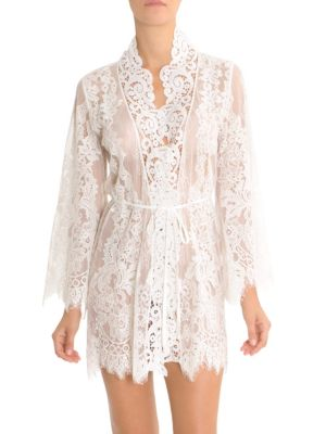 JONQUIL Lace Wrapper Robe in Ivory
