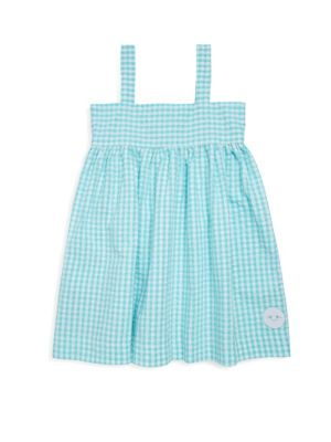 Toddlers Little Girls  Girls Aqua Seersucker Gingham Swing Cotton Dress