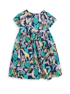 Toddlers Little Girls  Girls Tropical Jungle Sunday Cotton Dress