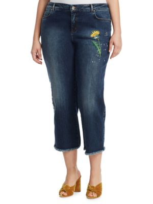 Marina Rinaldi Plus Size Embroidered Cropped Jeans