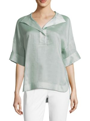 Lafayette 148  Classic Elbow-Length Sleeve Top