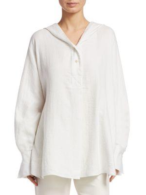 Carson Hooded Long-Sleeve Cotton Shirt, White