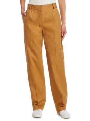 Thea Piqué Linen-Cotton Cargo Trousers - Ochre Size 8 in Sand