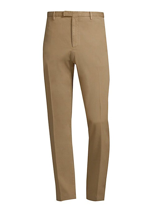"""Image of Cotton-blend trousers with a tapered silhouette. Belt loops. Zip fly with button closure. Rise, about 10"""".Inseam, about 34"""".Leg circumference, about 15"""".Cotton/elastane. Machine wash. Made in Italy."""