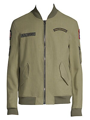 Image of From the Saks IT LIST UTILITY Give off-duty style an on-duty function with the latest military-inspired pieces. Comfy cotton bomber jacket finished with patch details Stand collar Long sleeves Rib-knit collar, cuffs and hem Exposed front zip Waist flap po