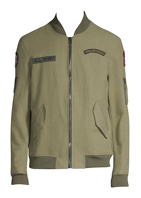 Image of From the Saks IT LIST. UTILITY. Give off-duty style an on-duty function with the latest military-inspired pieces. Comfy cotton bomber jacket finished with patch details. Stand collar. Long sleeves. Rib-knit collar, cuffs and hem. Exposed front zip. Waist