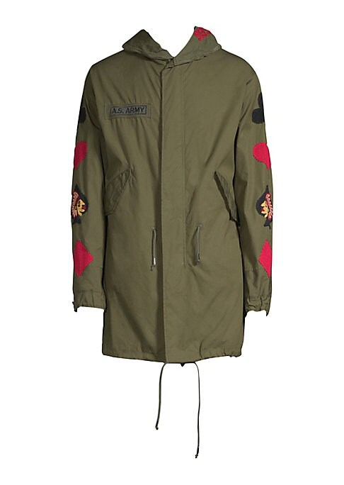 Image of From the Saks IT LIST. STATEMENT OUTERWEAR. Yes, you need a new coat for every destination. Cotton-blend parka with allover embroidered design. Attached drawstring hood. Long sleeves. Concealed front zip with snap closure. Waist flap pockets. Lined. About