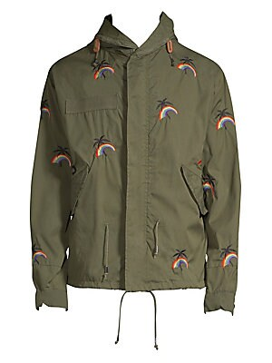 """Image of From the Saks IT LIST STATEMENT OUTERWEAR Yes, you need a new coat for every destination. Cotton-blend parka with allover embroidered design Attached drawstring hood Long sleeves Concealed front zip with snap closure Waist flap pockets Lined About 33"""" fro"""
