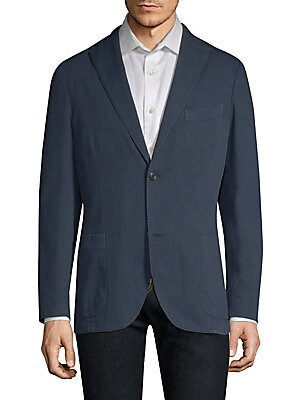 Image of From the Saks IT LIST THE JACKET The wear everywhere layer that instantly dresses you up. Timeless jacket tailored from cotton fabric Notch lapels with buttonhole Long sleeves Split cuffs Button front Chest welt pocket Side patch pockets Dual back vents R