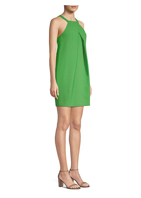 """Image of Sleeveless dress with front pleated detail. Square neck. Sleeveless. Back keyhole. Concealed back zip closure. About 36"""" from shoulder to hem. Polyester. Dry clean. Imported. Model shown is 5'10"""" (177cm) wearing US size 4."""