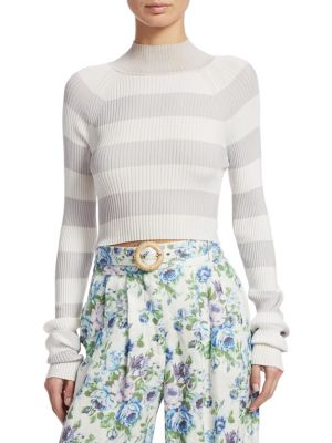 Whitewave Cropped Striped Ribbed-Knit Sweater, Silver White Stripe