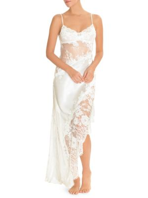JONQUIL Satin & Lace Long Gown in Ivory