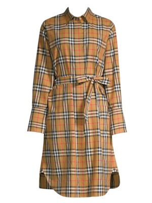 Isotto Checked Cotton Shirt Dress, Antique Yellow