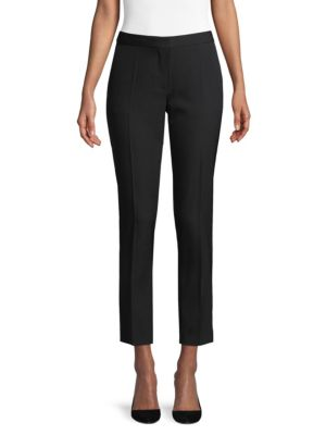 Hanover Wool Straight-Leg Ankle Pants, Black