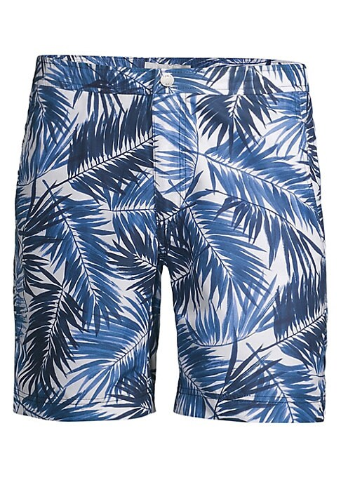 """Image of Tropical palm leaves cover slim fit swim trunks. Banded waist. Zip fly with snap closure. Waist slant pockets. Back flap pocket. Rise, about 7.5"""".Inseam, about 8.5"""".Polyester. Machine wash. Imported."""