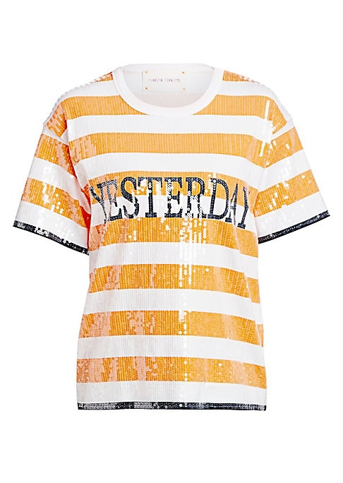 """Image of Dazzling sequins accentuate these bright yellow stripes. This piece is simply a reconstructed classic. Crewneck. Short sleeves. Pullover style. Sequin finish. Cotton. Machine wash. Imported. SIZE & FIT. About 24"""" from shoulder to hem. Model shown is 5'10"""""""