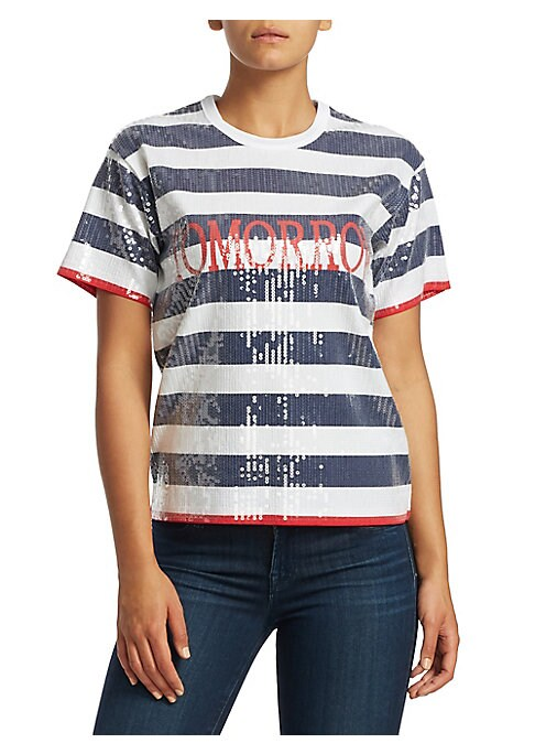 """Image of Dazzling sequins accentuate contrast stripes on this classic T-shirt. The bold """"Tomorrow"""" graphic makes it a suitable choice for anyday wear. Crewneck. Short sleeves. Pullover style. Sequin finish. Cotton. Machine wash. Imported. SIZE & FIT. About 24"""" fro"""