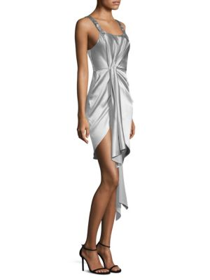 FLEUR DU MAL Asymmetrical Cascade Cocktail Dress in Metallic