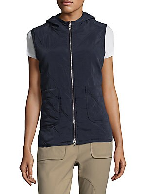 "Image of Comfort enhancing vest enhanced with quilted design Attached hood Sleeveless Exposed front zip Waist patch pockets Relaxed-fit About 26"" from shoulder to hem Cupro/elastomultiester Dry clean Made in USA of imported fabric Model shown is 5'10"" (177cm) wear"