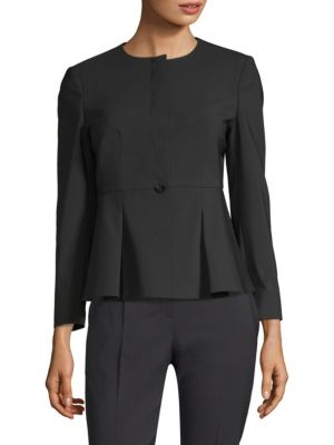 Jolanna Wool Flounce Hem Jacket by Boss