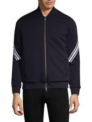 TWENTY TEES Stripe Sleeve Wovenbomber Jacket in Black
