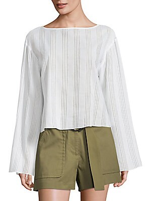 "Image of Cotton voile top heightened with striped patterns and bell sleeves Boatneck Dropped shoulders Long bell sleeves Relaxed-fit About 21"" from shoulder to hem Cotton Dry clean Made in USA of imported fabric Model shown is 5'10"" (177cm) wearing US size 4. Mode"