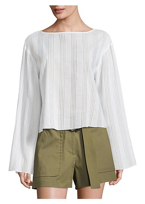 """Image of Cotton voile top heightened with striped patterns and bell sleeves. Boatneck. Dropped shoulders. Long bell sleeves. Relaxed-fit. About 21"""" from shoulder to hem. Cotton. Dry clean. Made in USA of imported fabric. Model shown is 5'10"""" (177cm) wearing US siz"""
