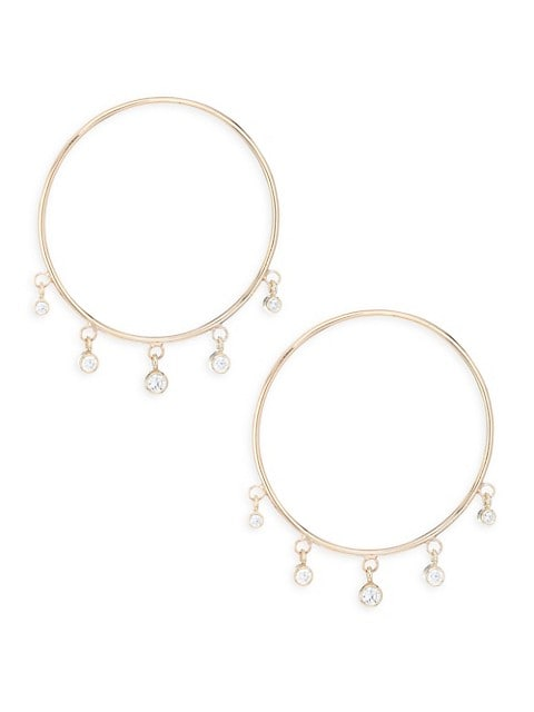 Gold Hoop Diamond Drop Earrings