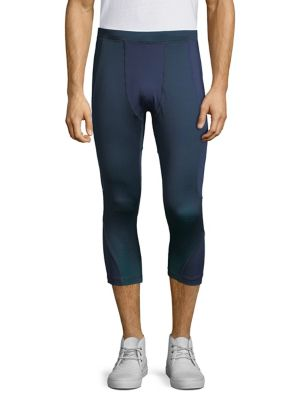 MPG Twilight Cropped Tights in Navy Sky Blue