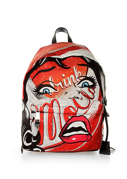 """Image of This backpack features pop art graphics superimposed onto a colorful soda-themed background. Top handle. Zip-around closure. Adjustable backpack straps. Front zip pocket. Polyester. Made in Italy. SIZE.11.75""""W x 16.5""""H x 7.75""""D."""