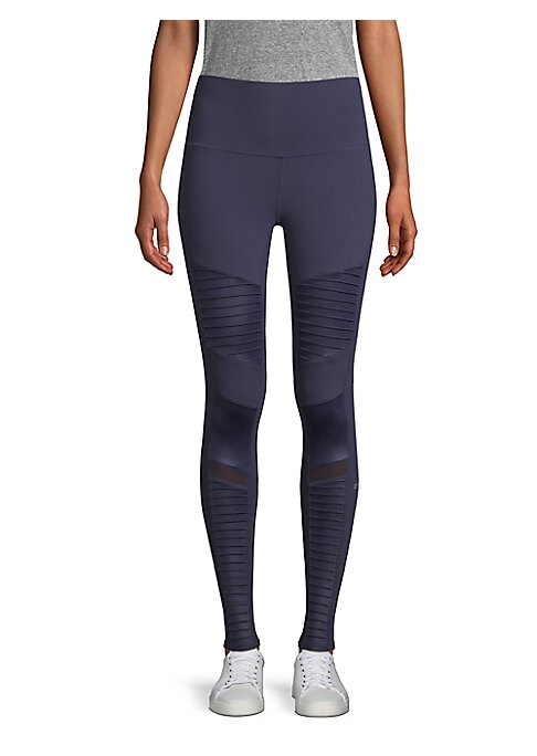 "Image of High-rise leggings with moto-inspired panels. Elasticized waistband. Pull-on style. Rise, about 10"".Inseam, about 28"".Nylon/spandex. Machine wash. Imported. Model shown is 5'10"" (177cm) wearing US size Small."