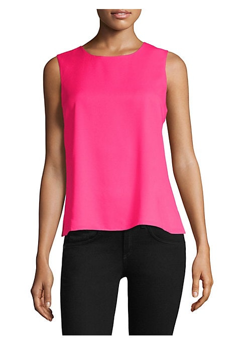 """Image of EXCLUSIVELY AT SAKS FIFTH AVENUE. Sleeveless shell top with back tie accents. Roundneck. Sleeveless. Back tie detail. Pullover style. About 24"""" from shoulder to hem. Polyester. Dry clean. Imported. Model shown is 5'10"""" (177cm) wearing US size Small."""