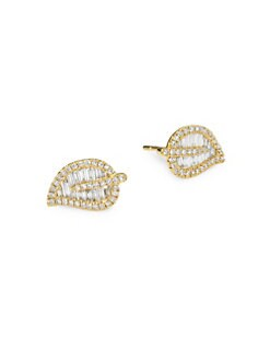 e7a24e40c Anita Ko. 18K Gold & Diamond Small Leaf Studs