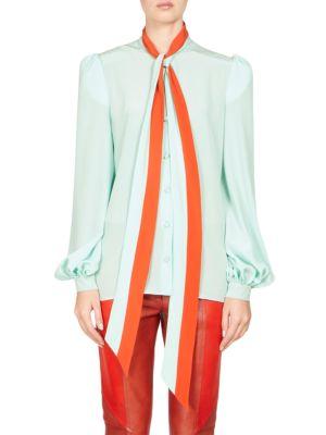 Tie-Neck Long-Sleeve Silk Crepe De Chine Blouse, Mint Green